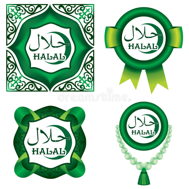Set of Halal signs royalty free illustration