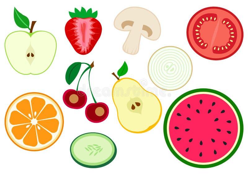 Set of half fruits and vegetables. Apple, strawberry, mushroom, tomato, onion, pear, cherry, orange citrus, cucumber, watermelon. Set of half fruits and stock illustration