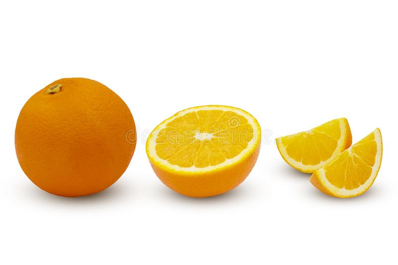 Set of half, slice, piece orange fruits isolated on white background with clipping path royalty free stock images