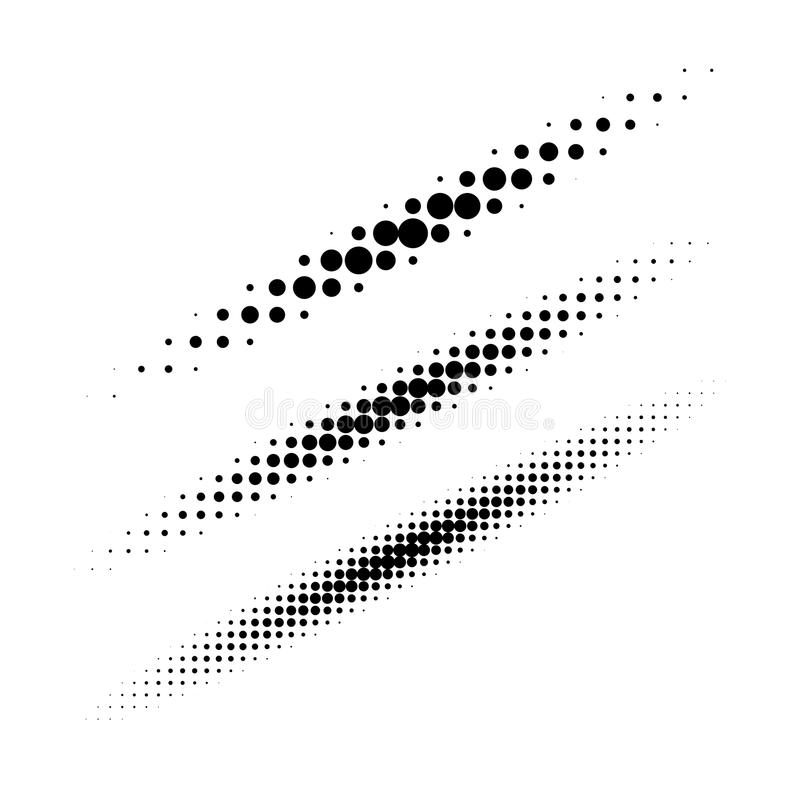 Set of halftone circle dots design elements. Collection of diagonal thin oval lines using halftone texture for logo. Set of halftone circle dots design elements royalty free illustration