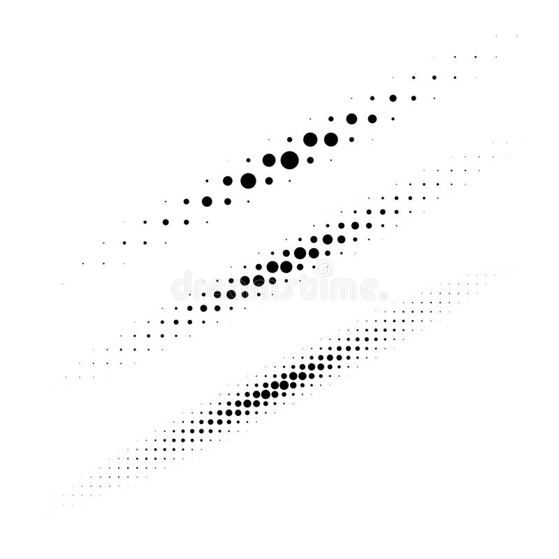 Set of halftone circle dots design elements. Collection of diagonal thin oval lines using halftone texture for logo. Set of halftone circle dots design elements stock illustration