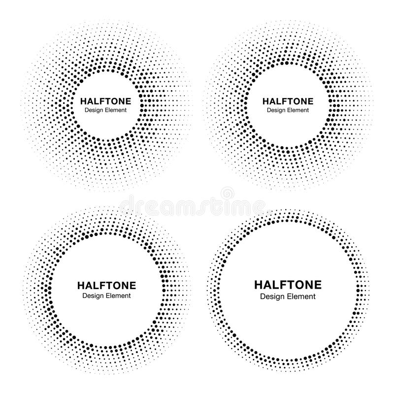 Set of Halftone circle vector frames with black abstract random dots, logo emblem design element for technology, medical stock illustration