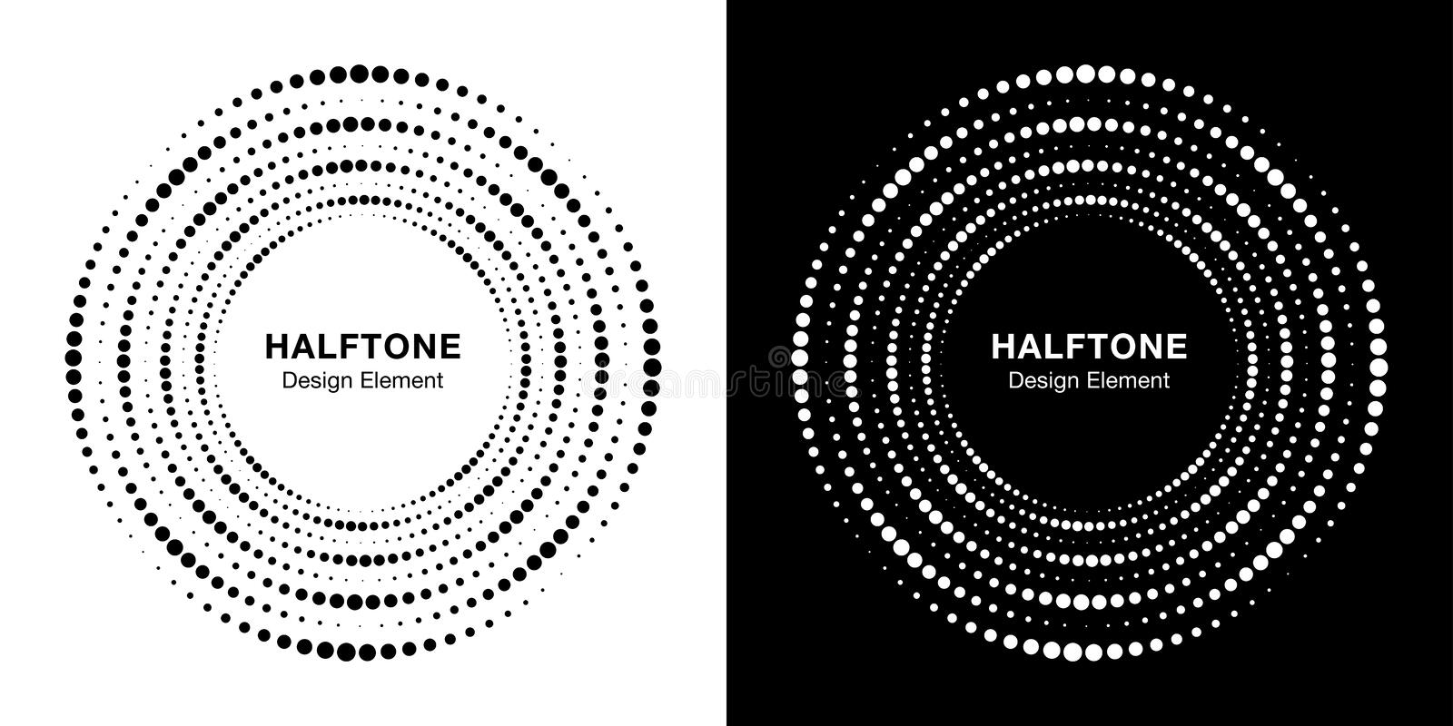 Set of Halftone circular dotted circle frame. Logo design element. Round border halftone circle dots texture. Vector. royalty free illustration