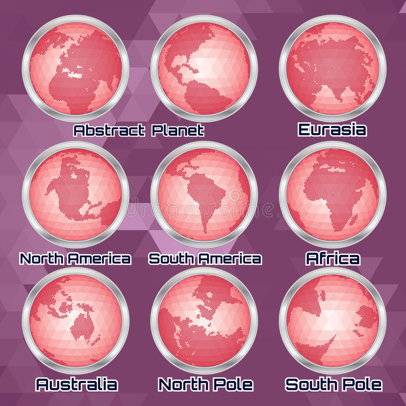 Download Set Of Halftone Continents For Design Stock Vector - Image: 37519905