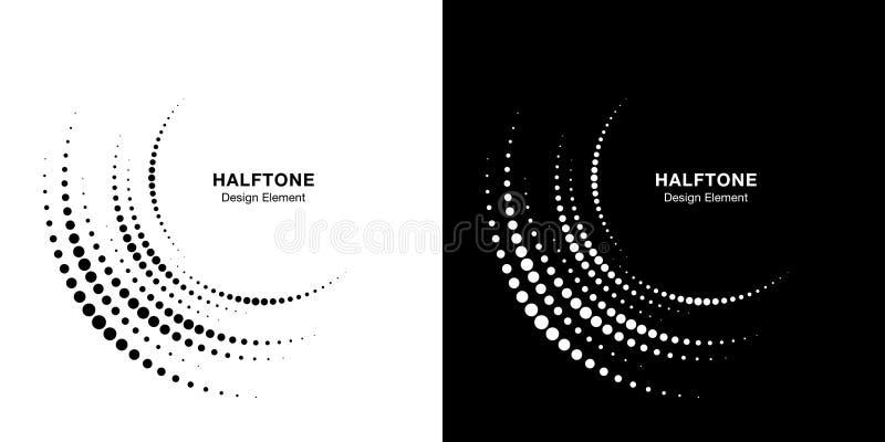 Set of Halftone incomplete circle frame dots logo background. Half round Icon halftone circle dots texture. Vector. Set of Halftone incomplete circle frame dots vector illustration