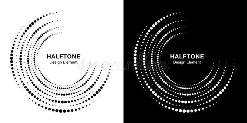 Set of Halftone incomplete circle frame dots logo background. Half round Icon halftone circle dots texture. Vector. Set of Halftone incomplete circle frame dots royalty free illustration