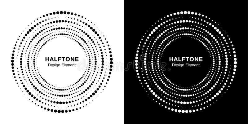 Set Halftone kurenda kropkująca okrąg rama Loga projekta element Round rabatowy halftone okr?g kropkuje tekstur? wektor royalty ilustracja