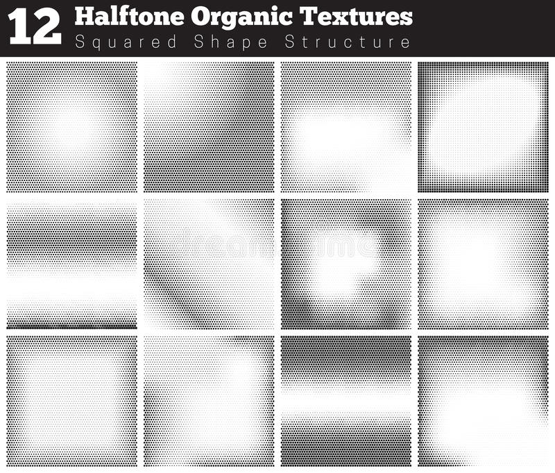 Set of halftone overlay textures. Collection of abstract halftone textures. Grunge halftone vector pattern on white background. Overlay textures stock illustration