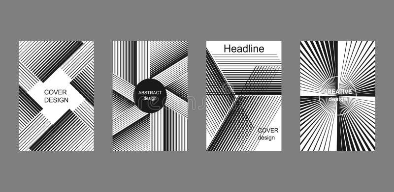 Set of halftone stripes backgrounds. stock illustration