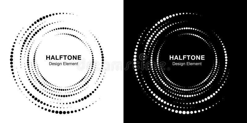 Set of Halftone vortex circle frame dots logo. Incomplete round border Icon using halftone circle dots texture. Vector. Set of Halftone vortex circle frame dots vector illustration