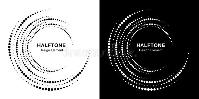 Set of Halftone vortex circle frame dots logo. Circular swirl design elemen. Incomplete round border Icon. Vector. Set of Halftone vortex circle frame dots logo stock illustration