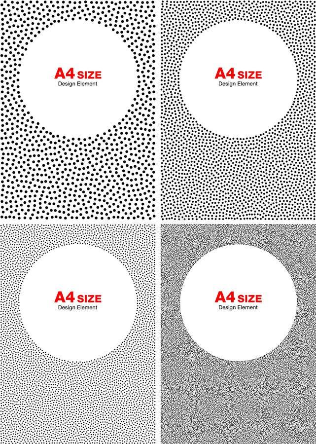 Set of Halftone White Dots on Gray Backgrounds, A4 size. Set of Abstract Halftone White Dots on Gray Backgrounds, A4 size vector illustration vector illustration