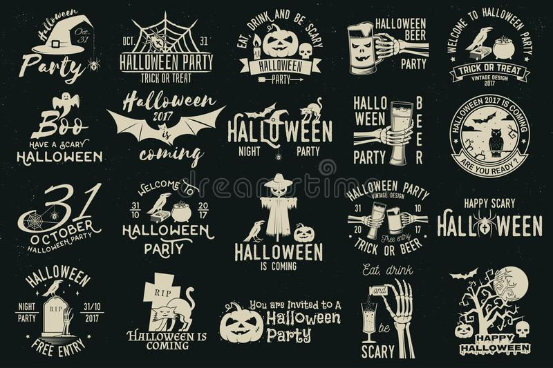 Set of Halloween celebration collection. stock illustration