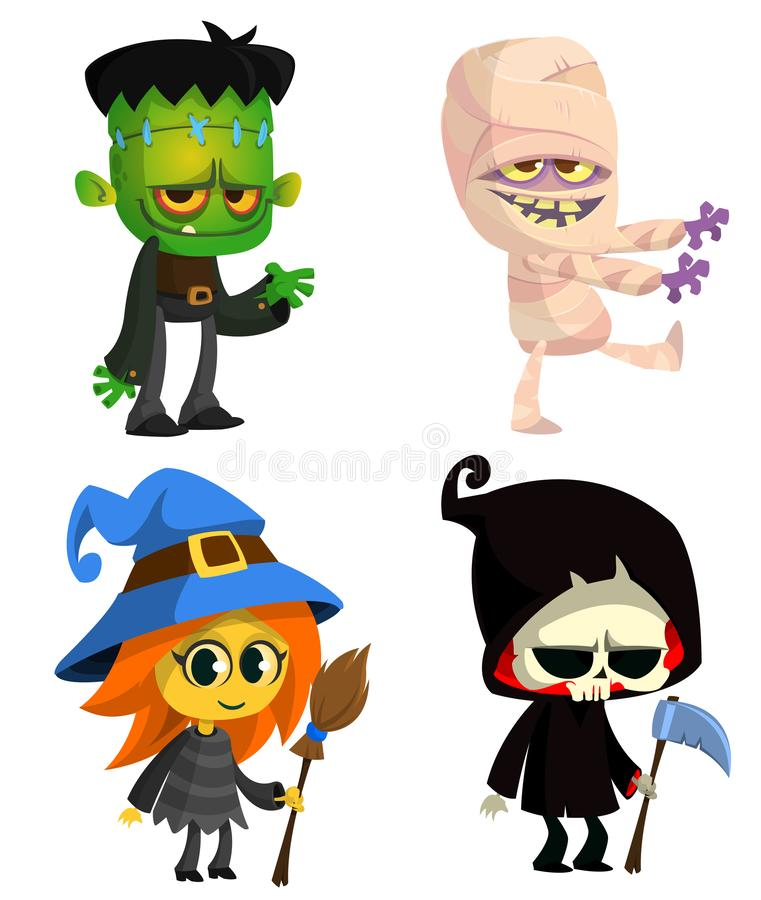 Set of Halloween characters. Vector cartoon zombie, mummy, witch with a broom, grim reaper with scythe. Great for party decoration stock illustration