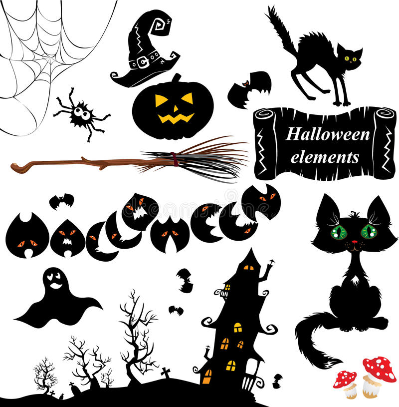 Download Set of  Halloween elements stock vector. Illustration of night - 26576726