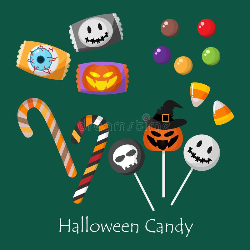 Set of Halloween elements with Halloween Candy. royalty free illustration