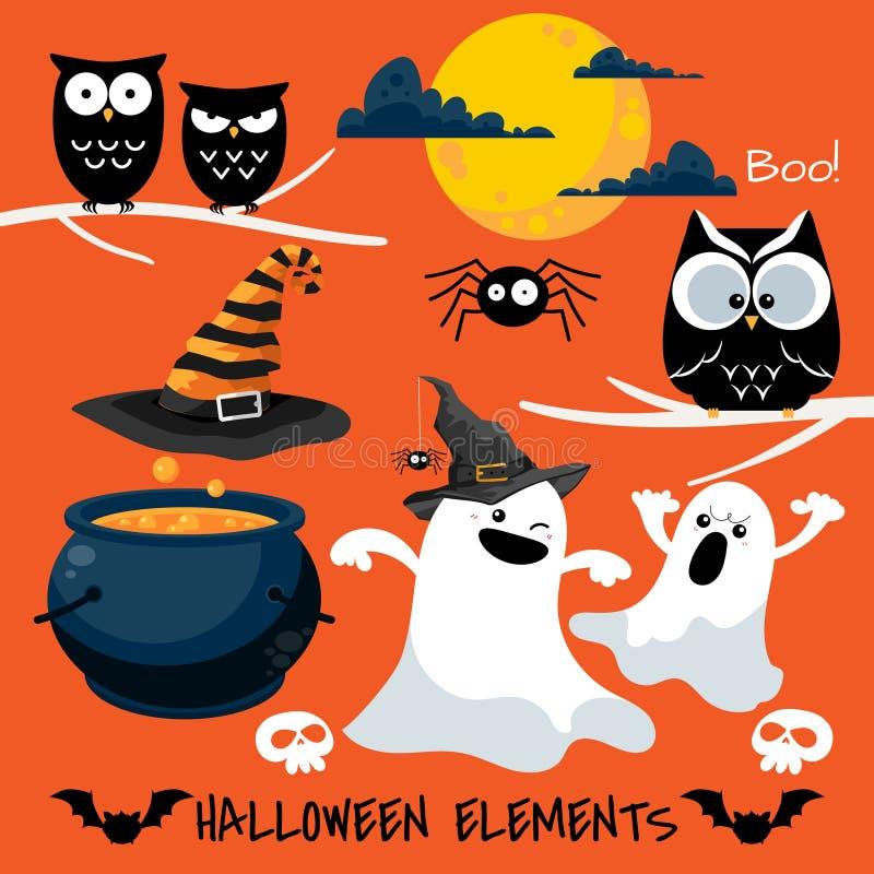 Set of Halloween elements and symbols stock illustration