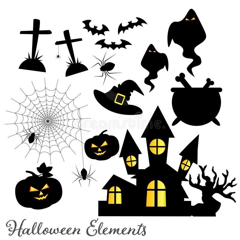 Set of Halloween elements and symbols vector illustration