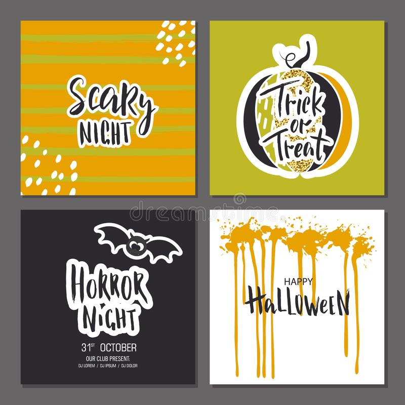 Set of Halloween hand drawn greeting card with calligraphy quotes, cute glamorous sparkling pumpkin and bat. Vector illustration. stock illustration