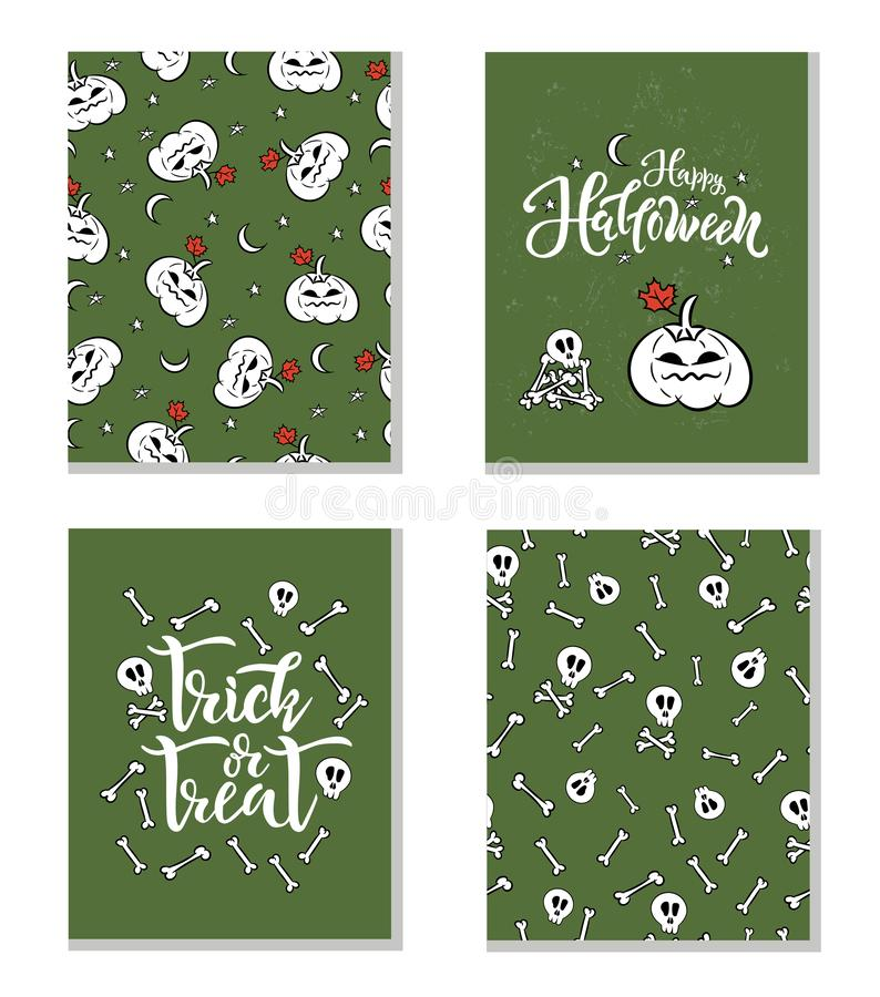 Set of Halloween holiday concept text and seamless patterns. Vector illustration for postcard, paper design print, greeting card a vector illustration