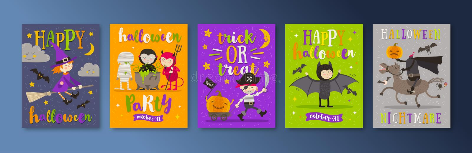 Set of Halloween holidays posters or greeting card with cartoon characters and type design. Vector illustration royalty free illustration