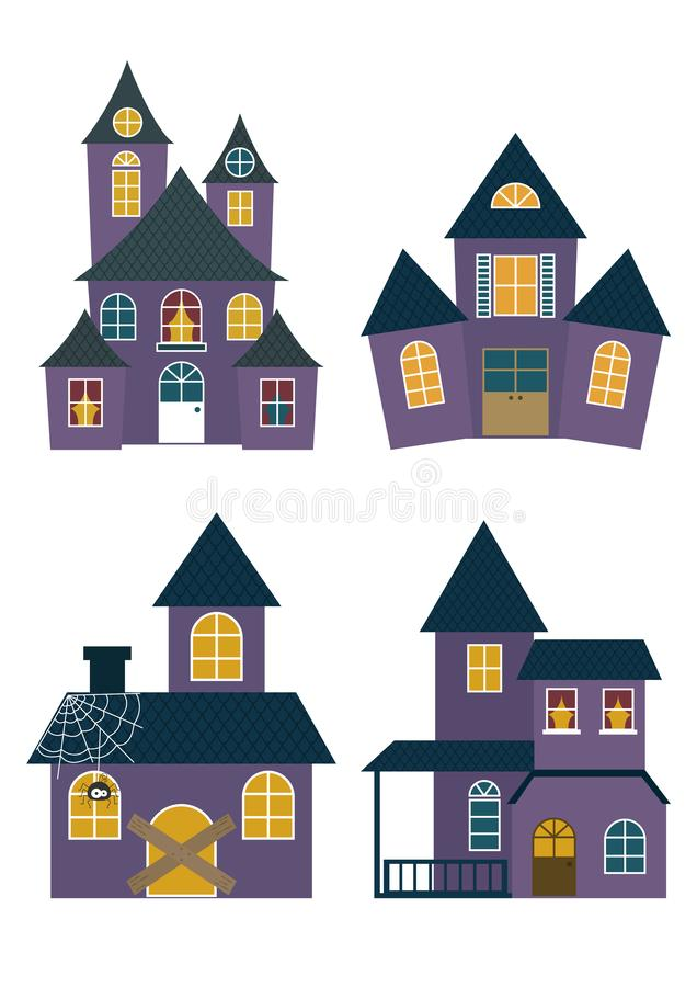 Set of Halloween Houses. Set of Halloween haunted houses isolated on white background vector illustration. Halloween houses collection vector cartoon stock illustration