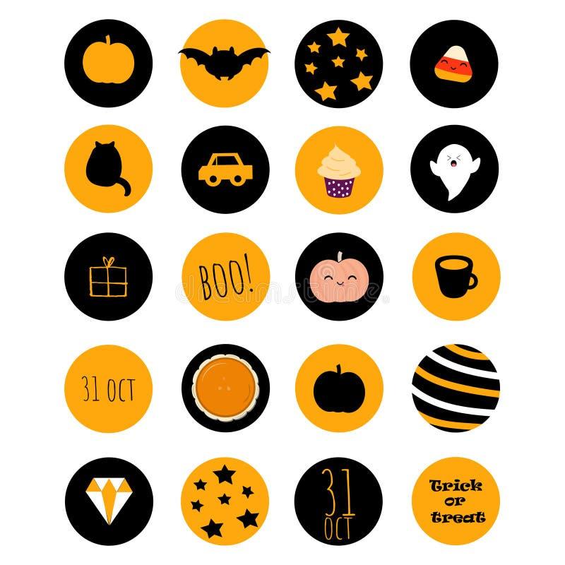 Set 20 Halloween ikon z thematical materiałem ilustracji