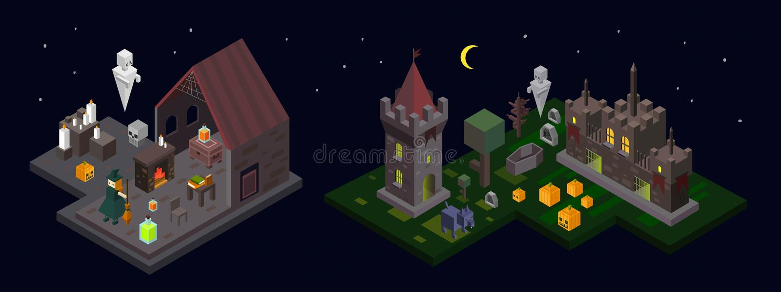 Set of Halloween isometric elements. Castle, tower, witch, ghost stock illustration