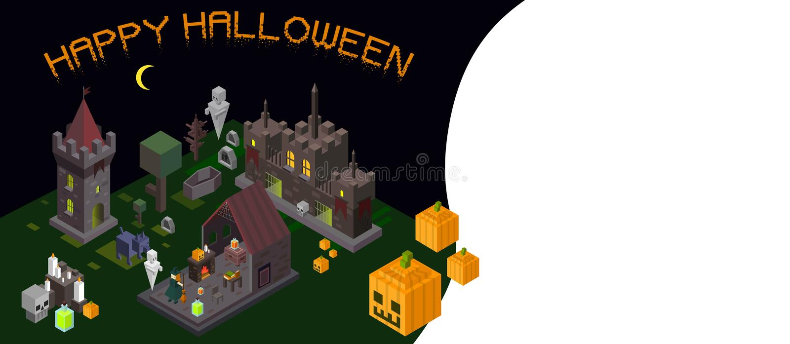 Set of Halloween isometric elements. Castle, tower, witch, ghost royalty free illustration