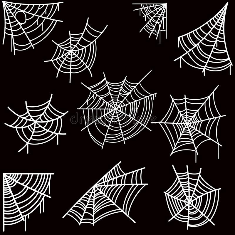 Set Halloween pająka sieć na ciemnym tle Projektuje element dla plakata, karta, sztandar, ulotka, dekoracja ilustracji