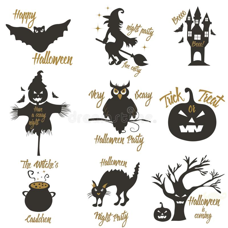 Set of Halloween party concept and design elements. Concept for print, shirt, stamp, badge royalty free illustration