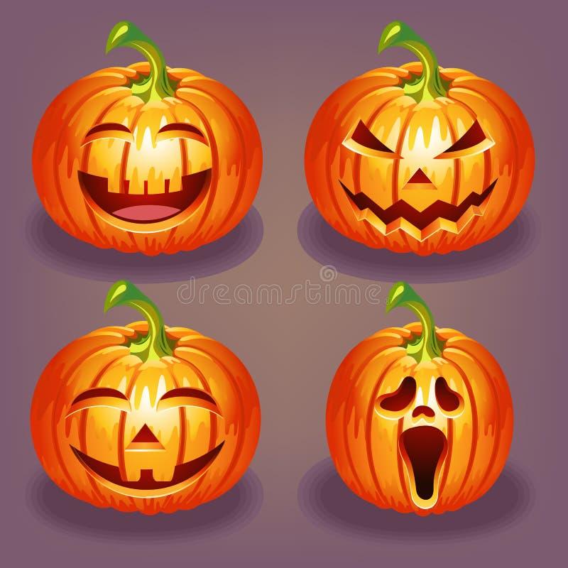 Set of Halloween pumpkin stock images