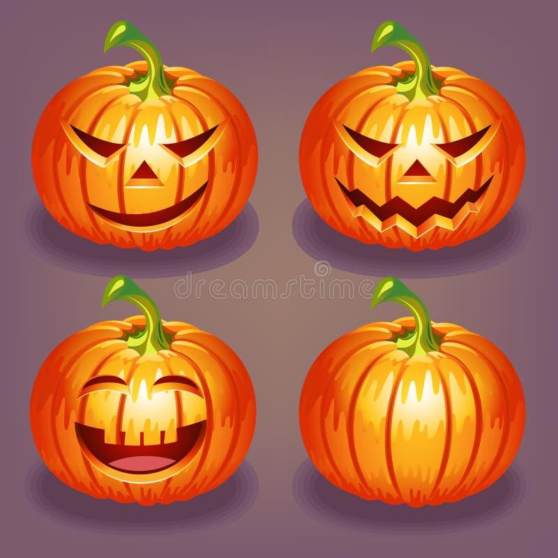 Set of Halloween pumpkin royalty free stock photos