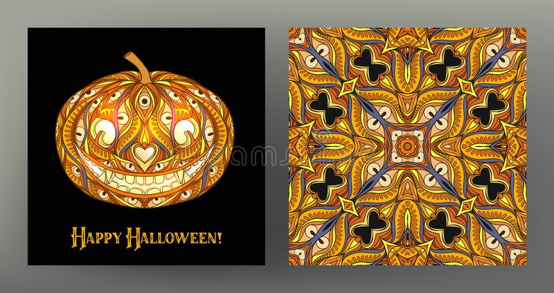 set with Halloween pumpkin head card and seamless pattern, backg stock illustration