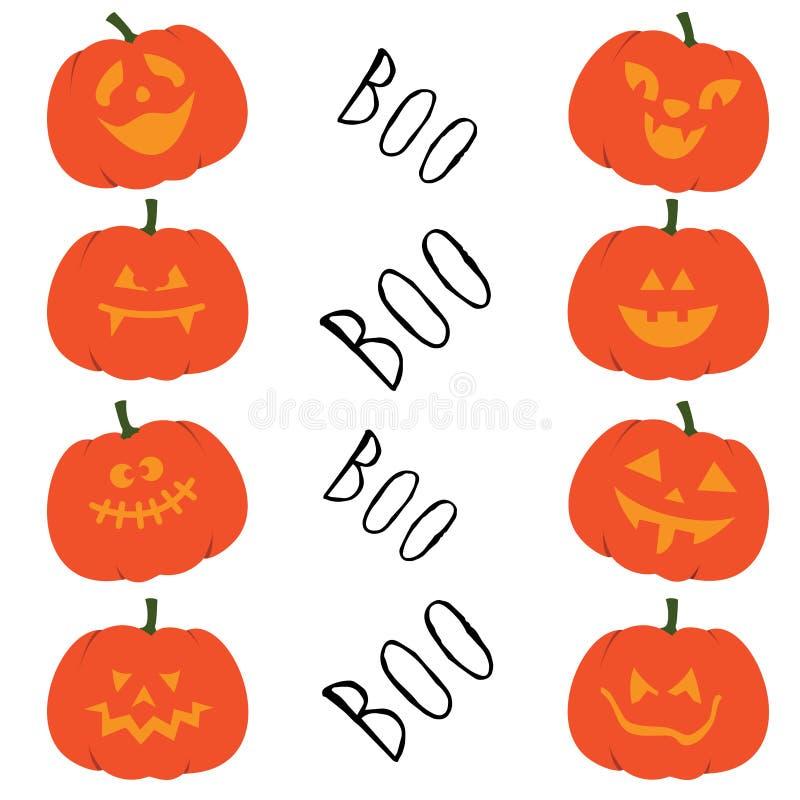 Set of halloween pumpkins. Collection of funny faces halloween pumpkins. Autumn holidays october. Vector illustration. Boo. royalty free illustration