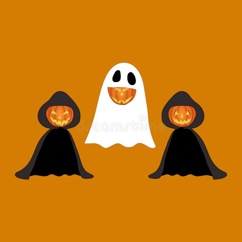 Set of halloween pumpkins, funny faces in costume. royalty free illustration