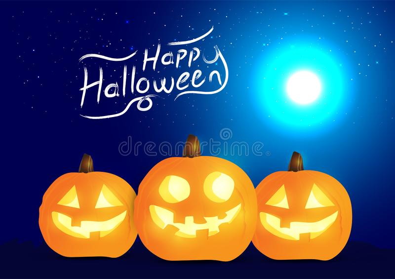 Set of halloween pumpkins and halloween typography, funny faces. Autumn holidays. Night blue background. Vector illustration EPS10 royalty free illustration