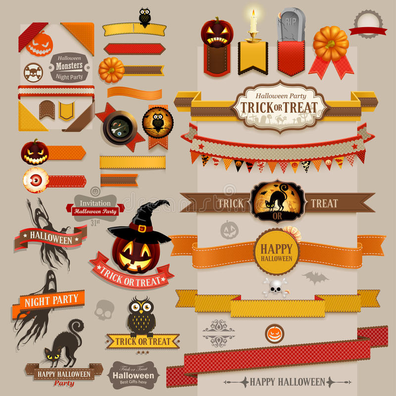 Set of Halloween retro ribbons vector illustration