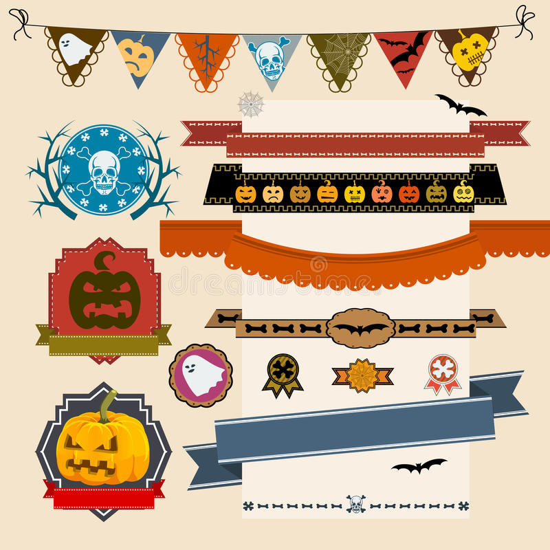 Set of Halloween ribbons and labels stock illustration