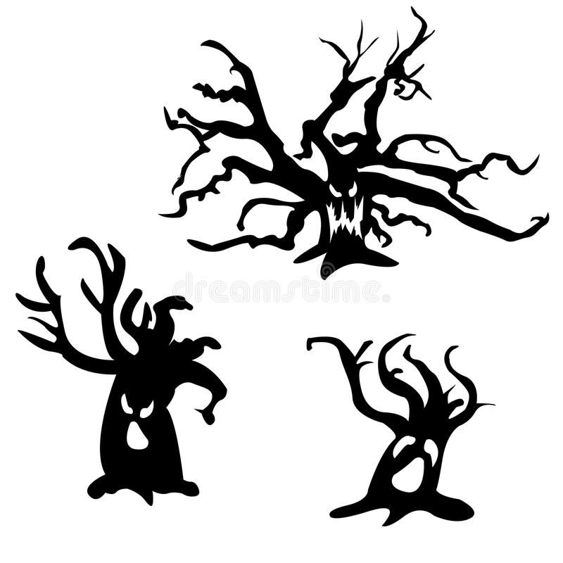 set of halloween scary trees vector illustration ghost face stock rh dreamstime com Cute Ghost Clip Art Ghost Outline Clip Art