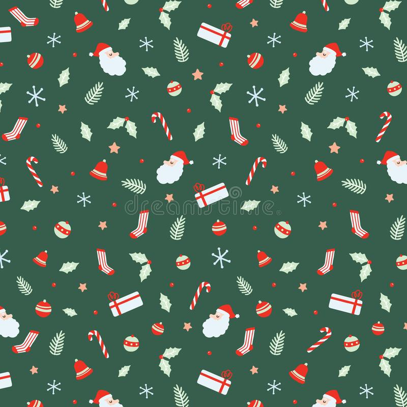 Christmas seamless pattern with Santa Claus, Bells, Xmas ball, candy canes, gift, socks, Christmas leaf, branch Christmas Hand dra vector illustration