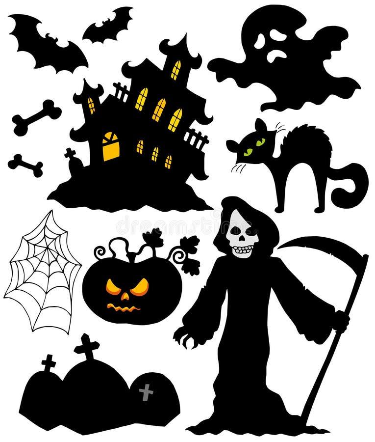 Set of Halloween silhouettes stock illustration