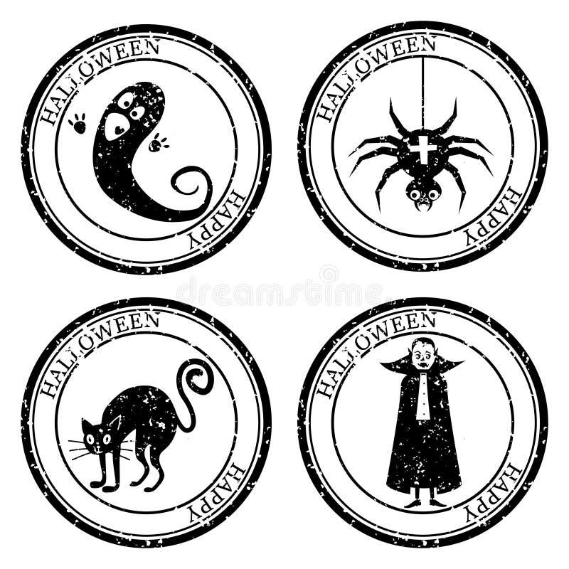 Set Halloween Stamp Postal. Icon Ghost Spider Cat Vampire Silhouette Seal. Grunge Texture. Passport Round Design. Vector royalty free illustration