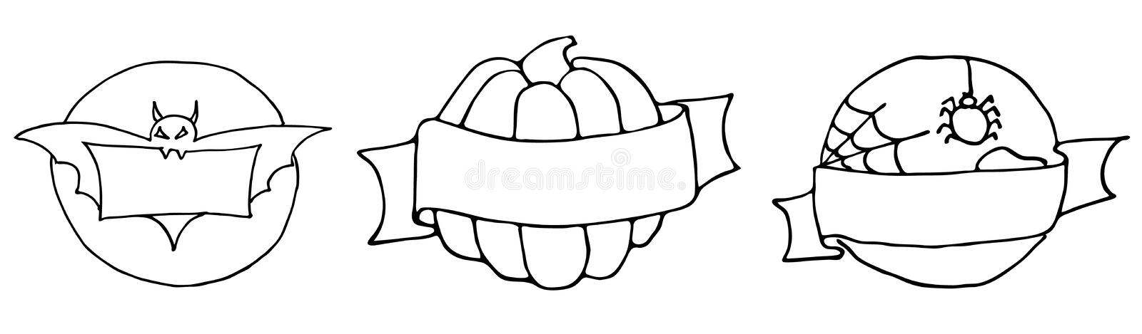 Set of halloween stickers and badges round shape hand drawing outline. Around the pumpkin ribbon. Bat background on the moon. stock illustration