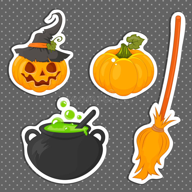 Set of Halloween stickers related objects and creatures. Set of halloween icons for your design. Flat design. stock illustration