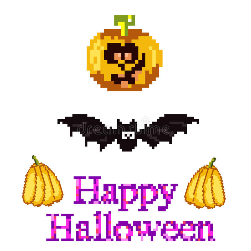 A set for Halloween in style pixel art - a pumpkin, a bat royalty free illustration