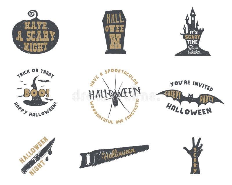 Set Halloween sylwetki odznaki Rocznika Halloween przyjęcia loga ręka rysujący projekt dla świętować wakacje retro ilustracja wektor