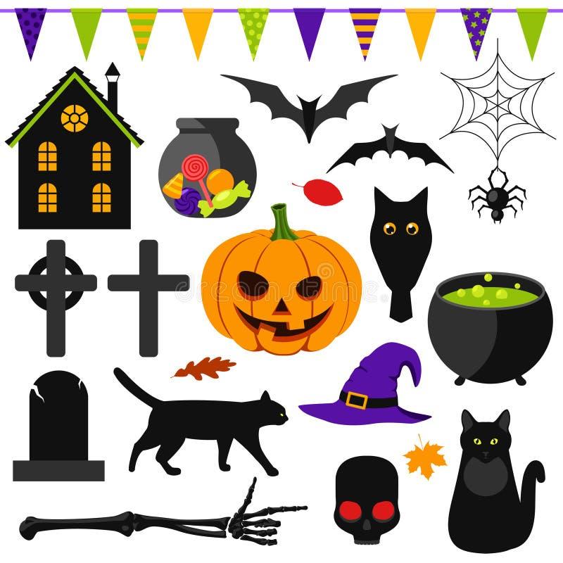 Set of Halloween symbols stock vector. Image of bones - 45154385