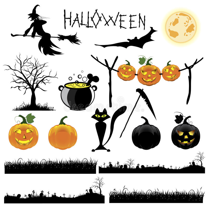 Download Set Of Halloween Vector Illustration Stock Vector - Illustration of scary, bone: 26584256