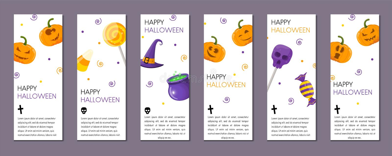 Set of Halloween vertical banners with Halloween symbols on whit stock illustration